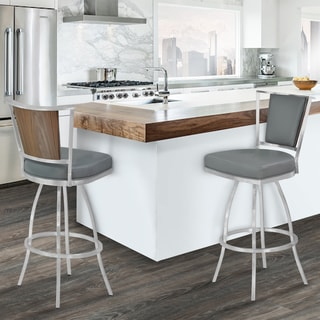 Armen Living Delhi Grey Metal Barstool with Brushed Stainless Steel Finish and Walnut Veneer Back