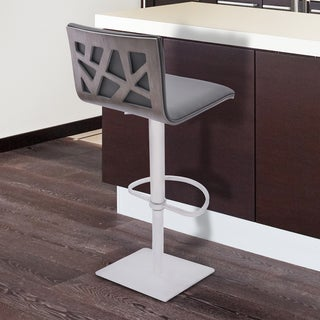 Armen Living Crystal Grey Faux Leather, Stainless Steel, and Walnut Veneer Adjustable Swivel Bar Stoolstoo