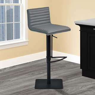 Armen Living Cafe Adjustable Swivel Barstool in Grey Pu with Black Metal Finish and Grey Walnut Veneer Back
