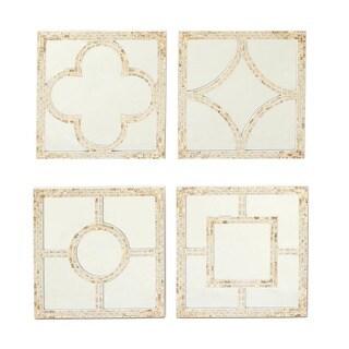 Urban Designs Beige Resin-framed Mosaic Shell Wall Mirror Decor (Set of 4)