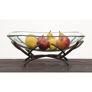 Urban Designs Sophia Clear Glass Decorative Bowl with Iron Frame