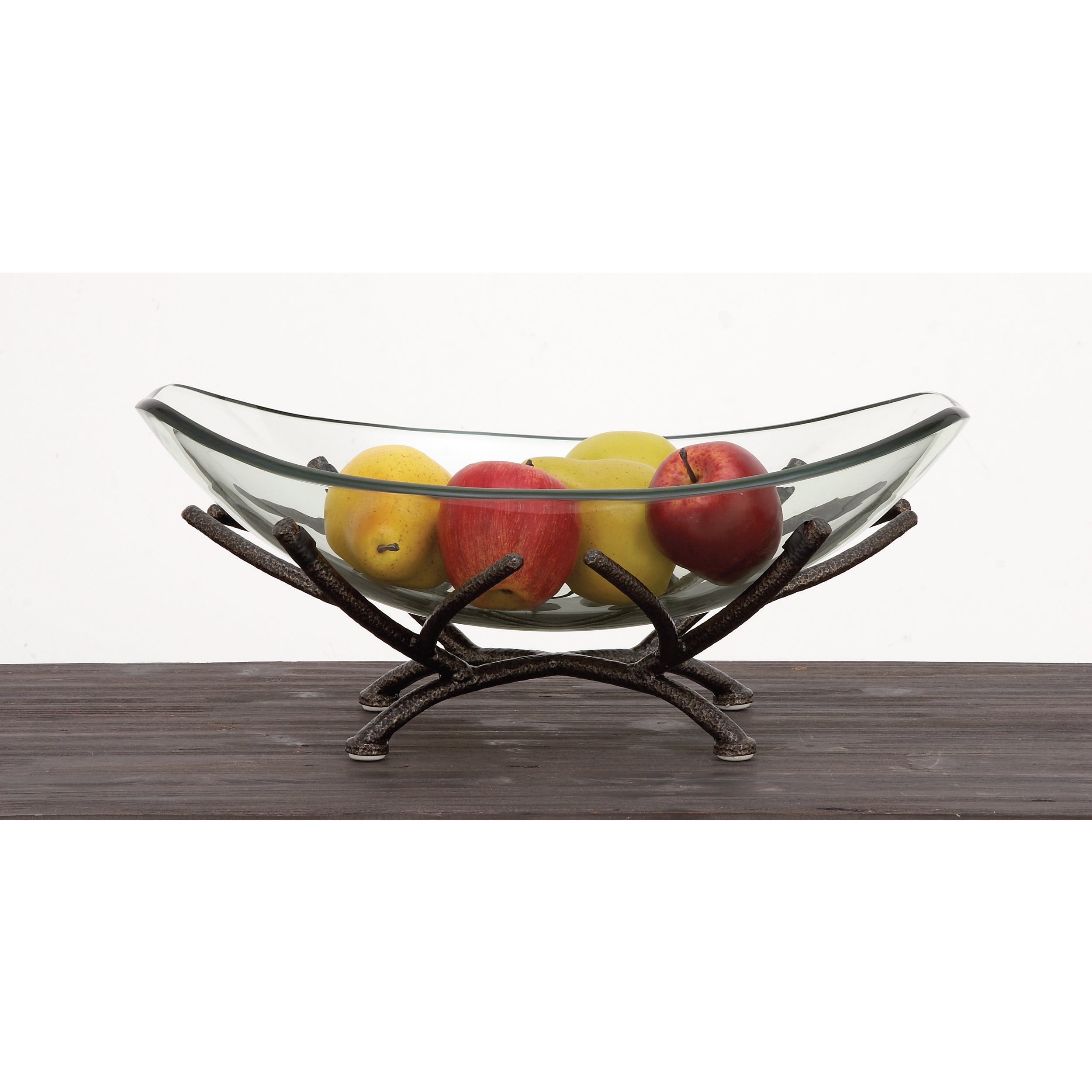 Urban Designs Adele Clear Art Glass Centerpiece Decorative Bowl With Iron Frame Overstock 13213431