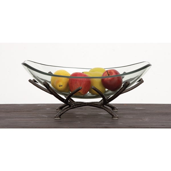 Urban Designs Adele Clear Art Glass Centerpiece Decorative Bowl with Iron Frame