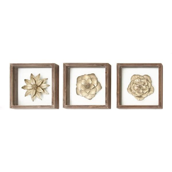 Urban Designs Metal Flowers Framed Wall Art (Pack of 3) - Free ...