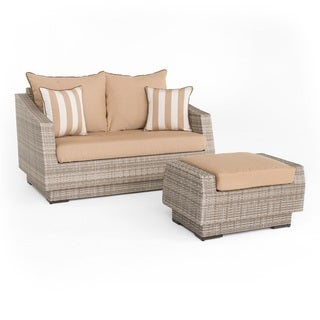 Link to RST Brands Cannes Maxim Beige Loveseat and Ottoman Similar Items in Outdoor Loveseat