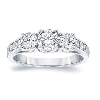 Auriya Platinum 1 1 2ct TDW Round 3 Stone Diamond Engagement Ring