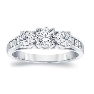 Auriya Platinum 1 1/2ct TDW Round 3-Stone Diamond Engagement Ring
