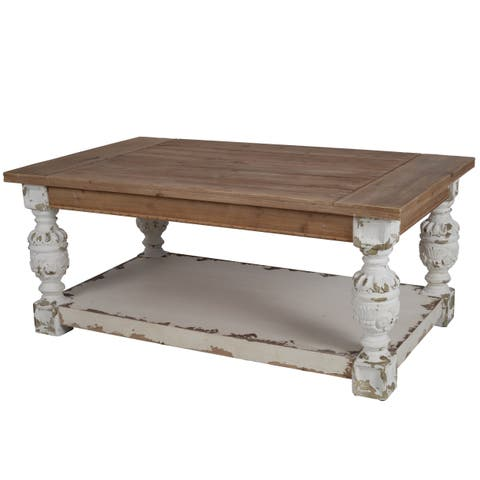 Distressed White Wood Base Coffee Table