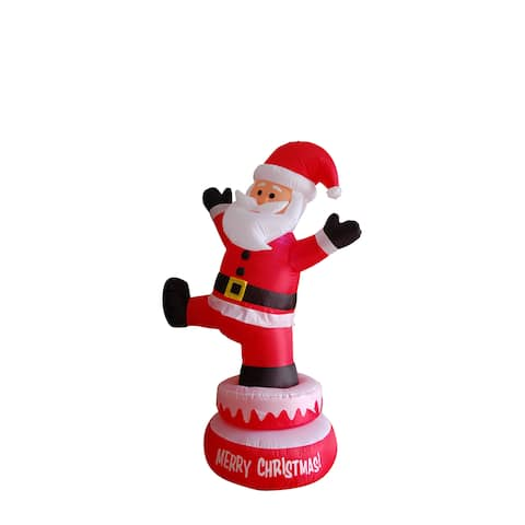Multicolored Polyester 5-foot Inflatable Rotating Santa Claus - Red