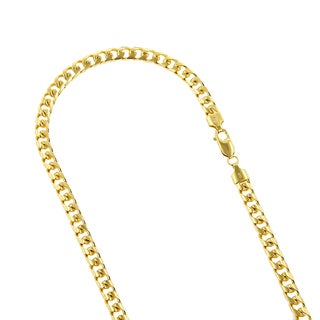 Luxurman 14k White or Yellow Gold Miami Cuban Curb Solid Chain 6.5mm Wide Necklace with Lobster Claw Clasp