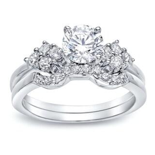 Auriya Platinum 1ct TDW Round Cut Diamond Bridal Ring Set (H-I I1-I2)
