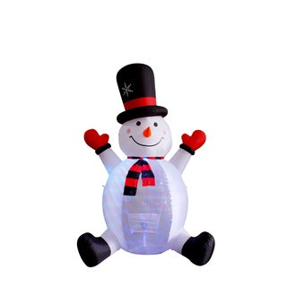 Polyester and Plastic 8-foot Rotating Light Inflatable Snowman