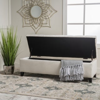 Ottilie Contemporary Button-Tufted Fabric/Velvet Storage Ottoman Bench by Christopher Knight Home
