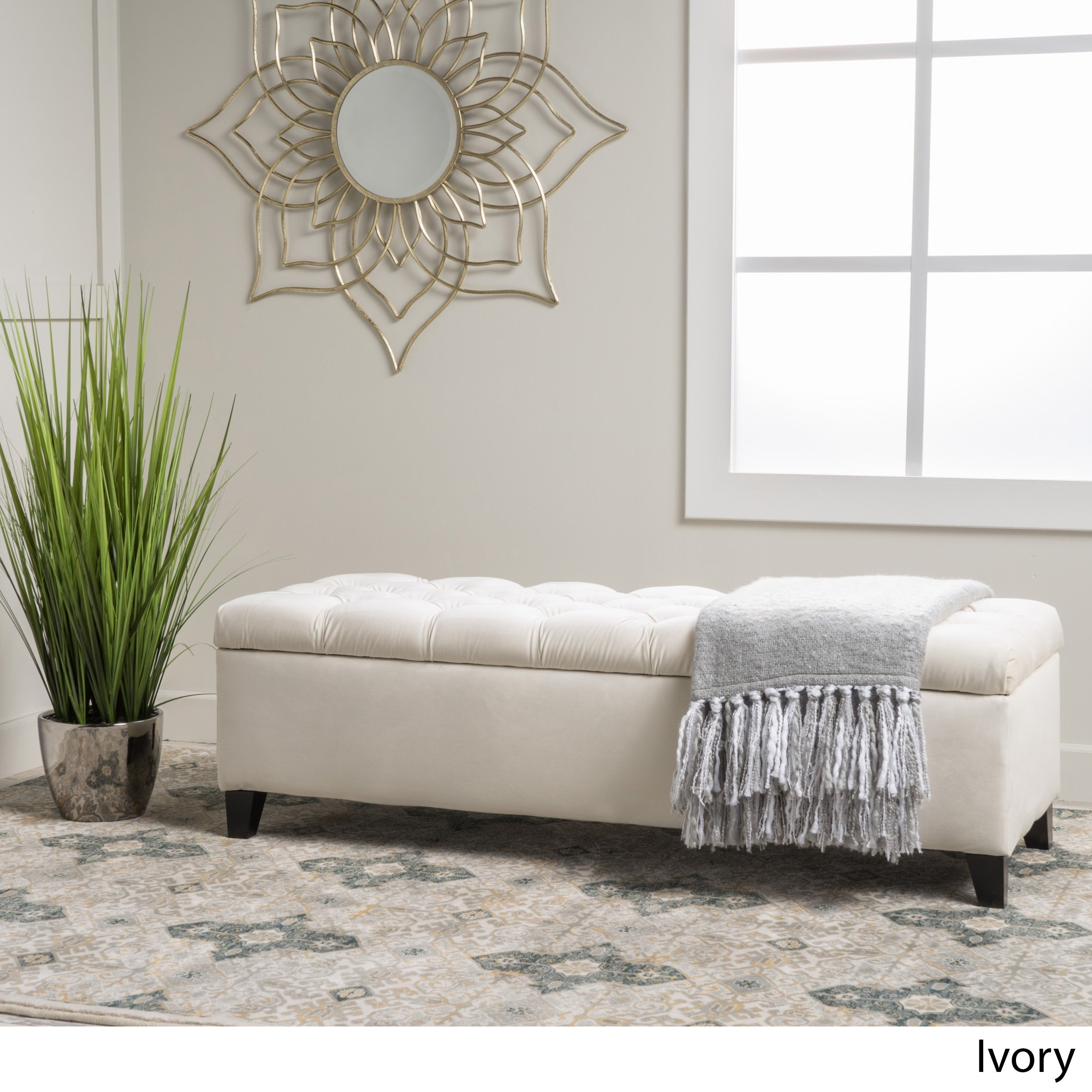 Christopher Knight Home Ottilie Fabric Storage Ottoman Ivory Velvet ...