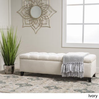 Ottilie Fabric Storage Ottoman by Christopher Knight Home (Option: Ivory)