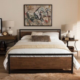 Baxton Studio Kyriakos Industrial Style Antique Bronze Finished Metal and Walnut Wood Platform Bed