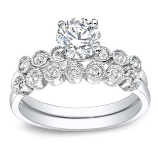 Auriya Platinum 1ct TDW Round Cut Diamond Bridal Ring Set (G-H, I1-I2)