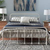 Havenside Home Belvon Industrial Style White Finished Metal Platform Bed