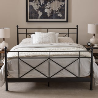 Baxton Studio Elpida Industrial Style Antique Bronze Finished Metal Platform Bed