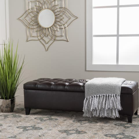Ottilie Contemporary Button-Tufted Storage Ottoman Bench by Christopher Knight Home