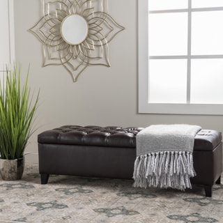 Ottilie Leather Storage Ottoman by Christopher Knight Home & Buy Leather Ottomans u0026 Storage Ottomans Online at Overstock.com ...