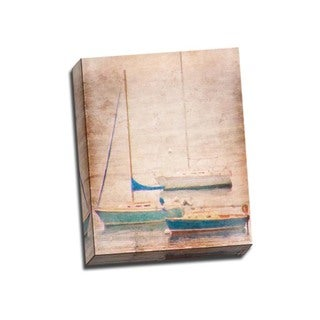 Picture It on Canvas 'Aqua Sailboats' 16-inch x 20-inch Wrapped Canvas Art
