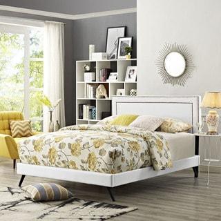 Jessamine  White Vinyl Platform Bed with Round Splayed Legs