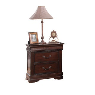 Acme Furniture Gwyneth Cherry Pine, Veneer, and MDF 3-drawer Nightstand with a Hidden Tray
