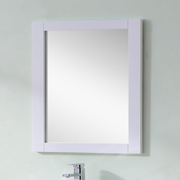 Infurniture Contemporary Style White Finished 32-inch Wide Rectangular Wall Mirror - A/N
