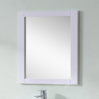 Infurniture Contemporary Style White Finished 32-inch Wide Rectangular Wall Mirror