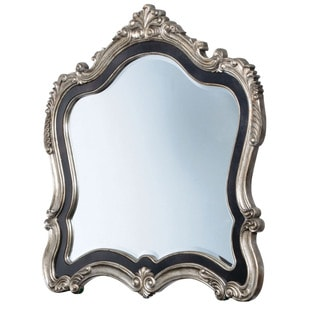 Acme Furniture Chantelle Antique Platinum and Pearl White Wood Beveled Mirror