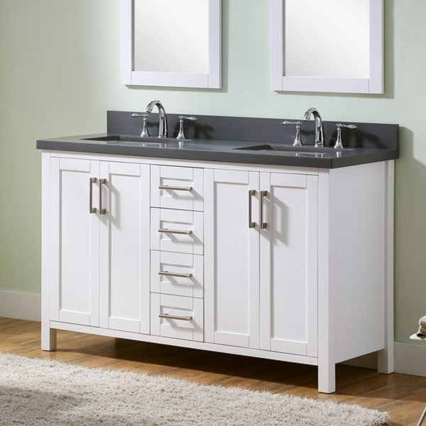 Shop Infurniture White 60 Inch Double Sink Bathroom Vanity With Grey Quartz Marble Top Free