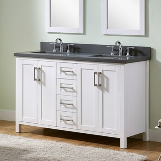Infurniture White 60-inch Double-sink Bathroom Vanity with Grey Quartz Marble Top