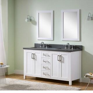 Infurniture Grey/White Wood/Ceramic/Glass Double-sink 60-inch Bathroom Vanity