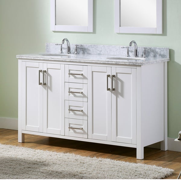 carrara white marble metal wood double sink 60 inch bathroom vanity