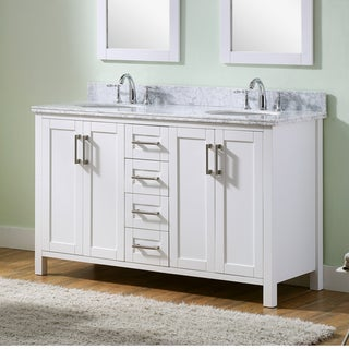 Infurniture Carrara White Marble/Metal/Wood Double-sink 60-inch Bathroom Vanity