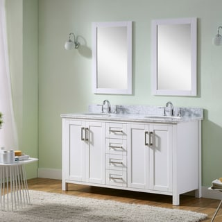 Infurniture Carrara White Marble Top 60-inch Double-sinks Bathroom Vanity