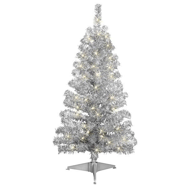 silver tinsel 4 foot pre lit tree - Silver Tinsel Christmas Tree