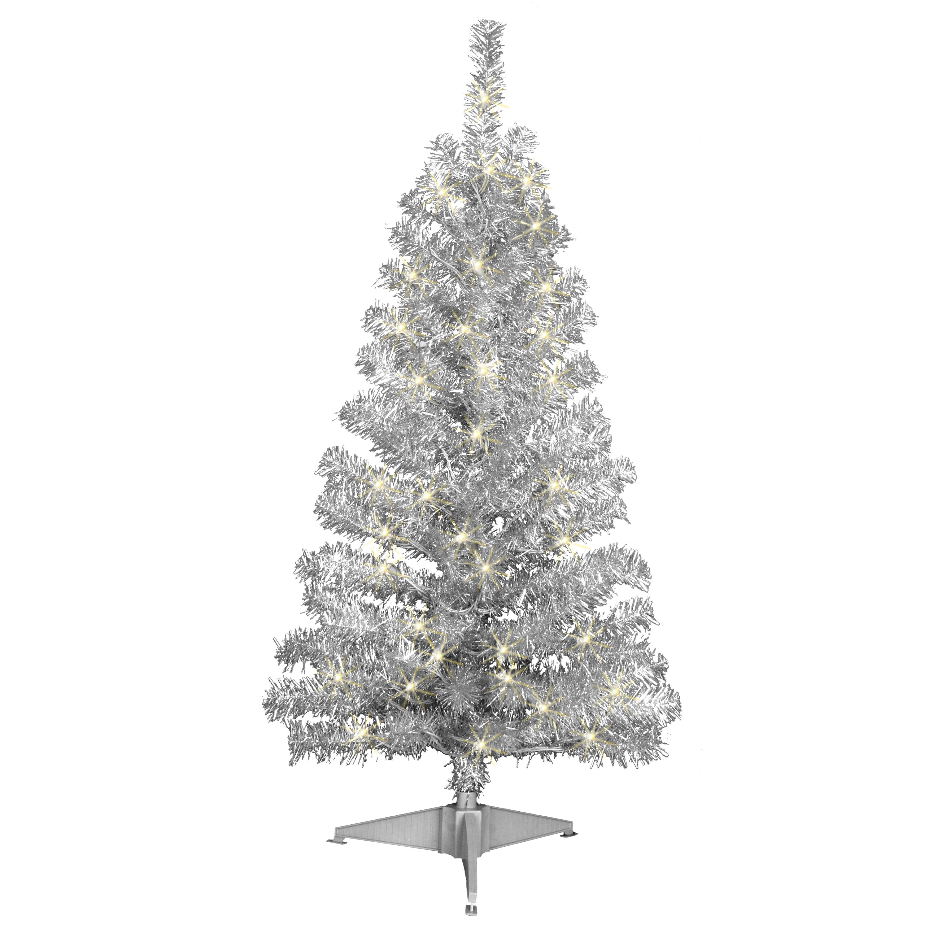 Jeco Silver Tinsel 4-foot Pre-lit Tree (As Is Item) (Silver)