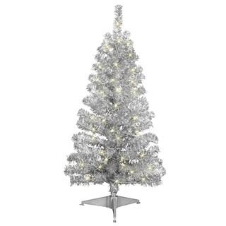 Silver Tinsel 4-foot Pre-lit Tree
