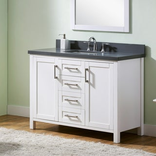 Infurniture White Wood/ Grey Quartz Marble Top 48-inch Bathroom Vanity