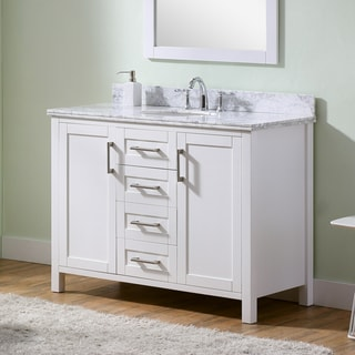 Infurniture White Carrara Marble 48-inch Bathroom Vanity