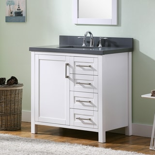 Contemporary White 36-inch Grey Quartz Marble Top Bathroom Vanity