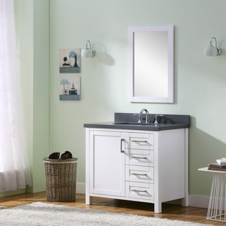 Infurniture White/ Grey Quartz Marble Top Single-sink Bathroom Vanity with Matching Tall-frame Wall Mirror