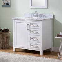 Infurniture White Metal/ Marble Contemporary Bathroom Vanity