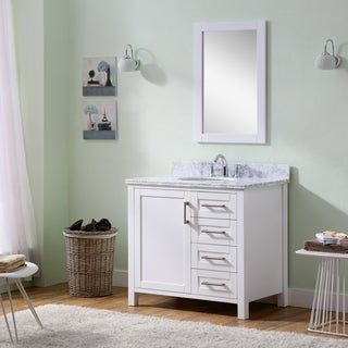 Infurniture Carrara White Marble/ Wood/ Metal Single-sink Bathroom Vanity with Mirror