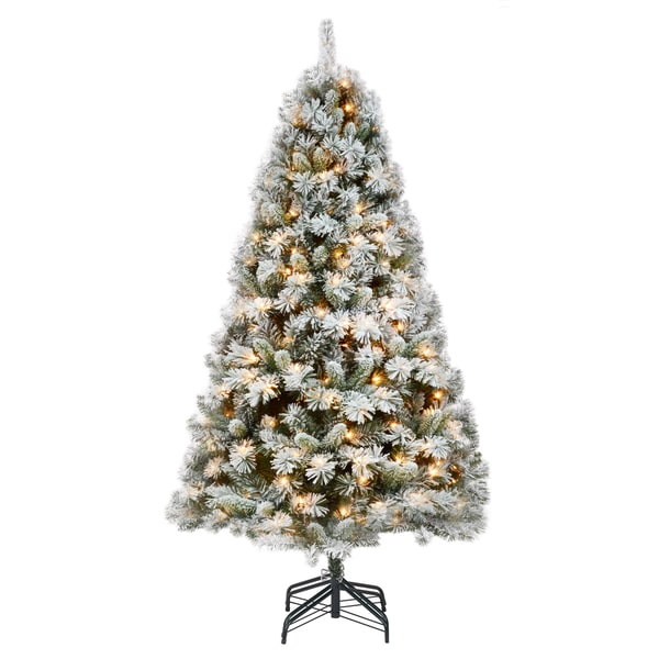 Prelit Frosted White And Green Plastic 7 5 Foot Christmas Tree With Metal Stand