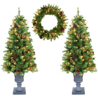 Green Plastic 4-foot 3-piece Christmas Tree and Holiday Wreath Set