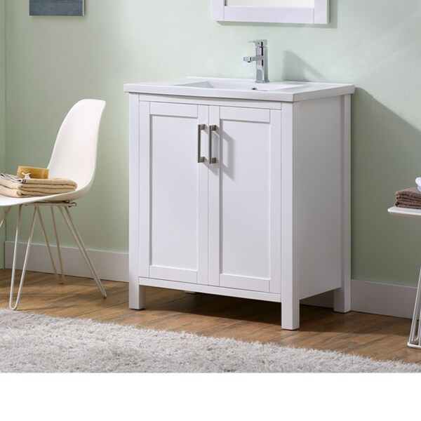 Infurniture Solid Wood/ Ceramic/ Glass/ Metal 30 Inch Thick Edged Sink