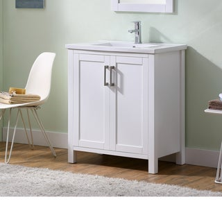 Infurniture Solid Wood/ Ceramic/ Glass/ Metal 30-inch Thick-edged Sink White Bathroom Vanity